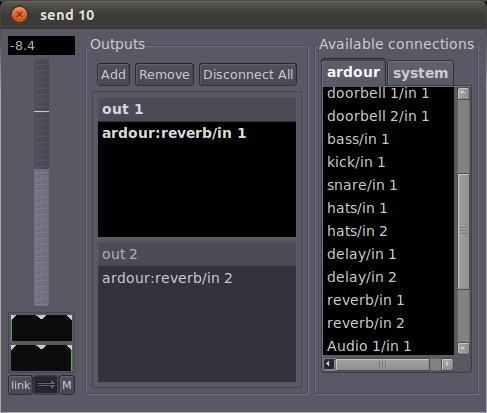 Ardour's send dialog