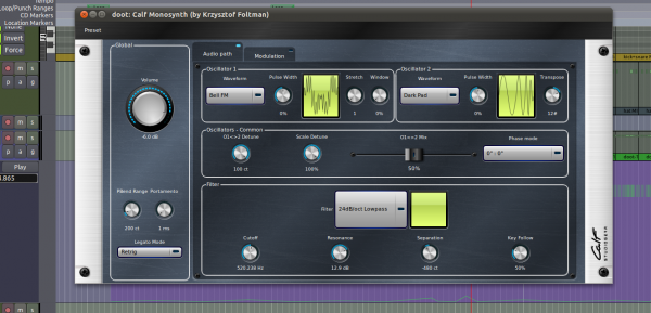 Calf Monosynth, with some smooth filter cutoff automation