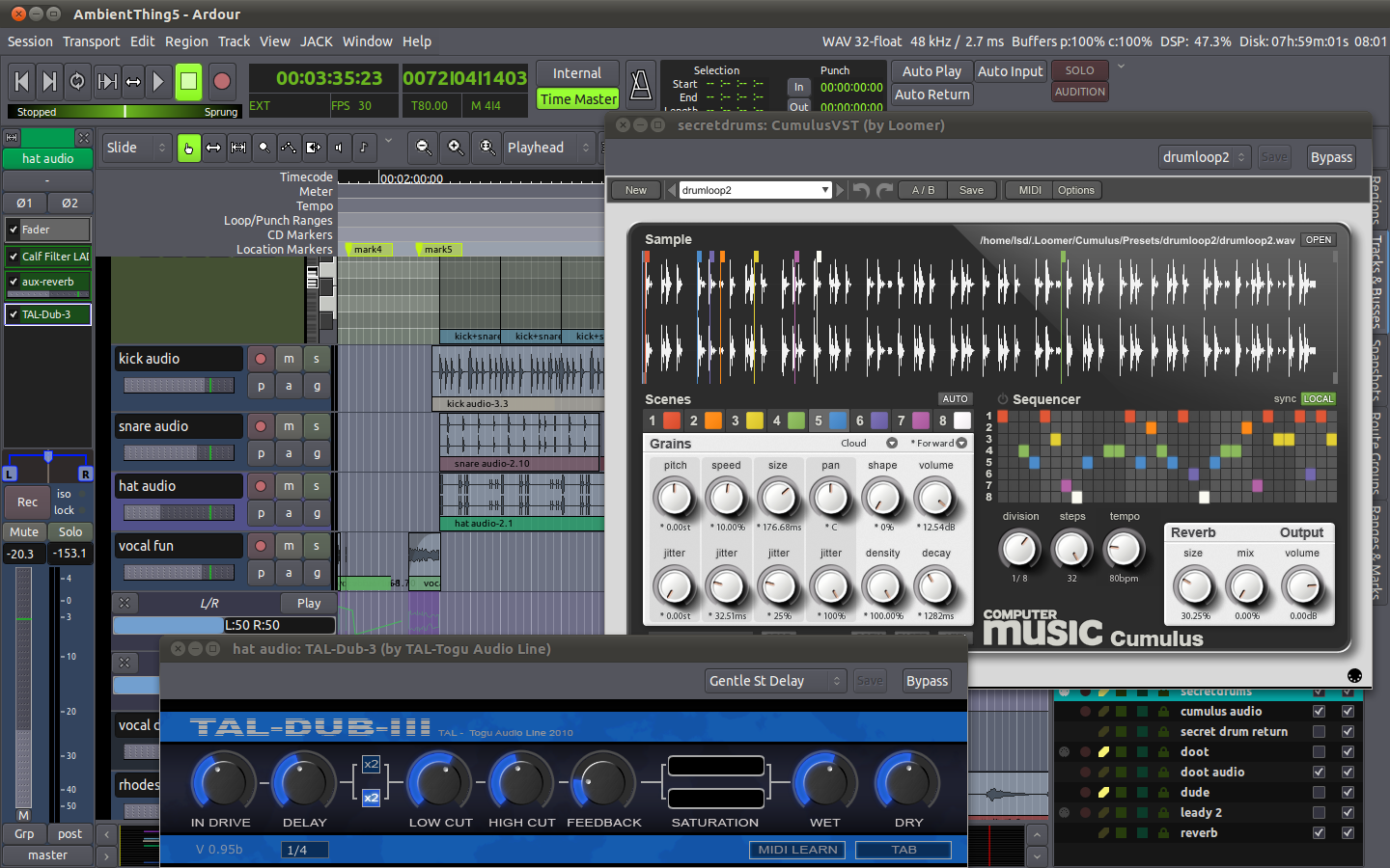 it's here! native vst support in ardour 3 | woo, tangent