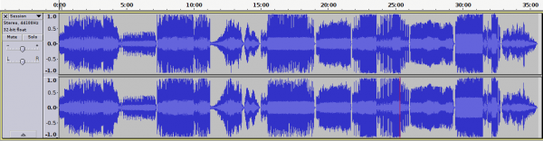 A waveform display of the entire album