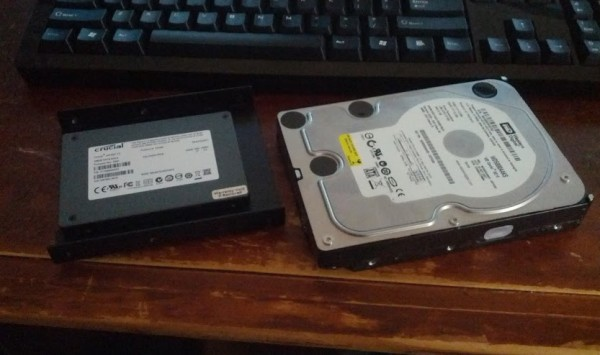 "Even when attached to a 3.5"" bay extender, SSDs look tiny compared to 3.5"" hard drives"