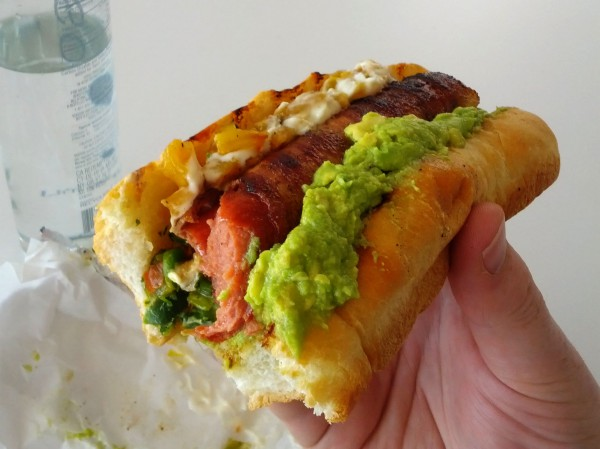 Guatamalan hot dog with avocado and grilled pineapple? Don't mind if I do!